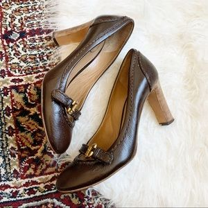 Chloe Stitched Leather Stacked Heel Mary Jane 40